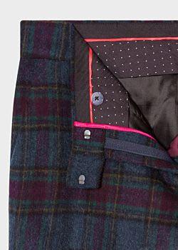 PS Paul Smith Slate Blue And Damson Tartan Wool Blend Trousers