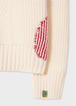 PS Paul Smith Women's Ecru Wool-Blend Ribbed Sweater With Darning Detail