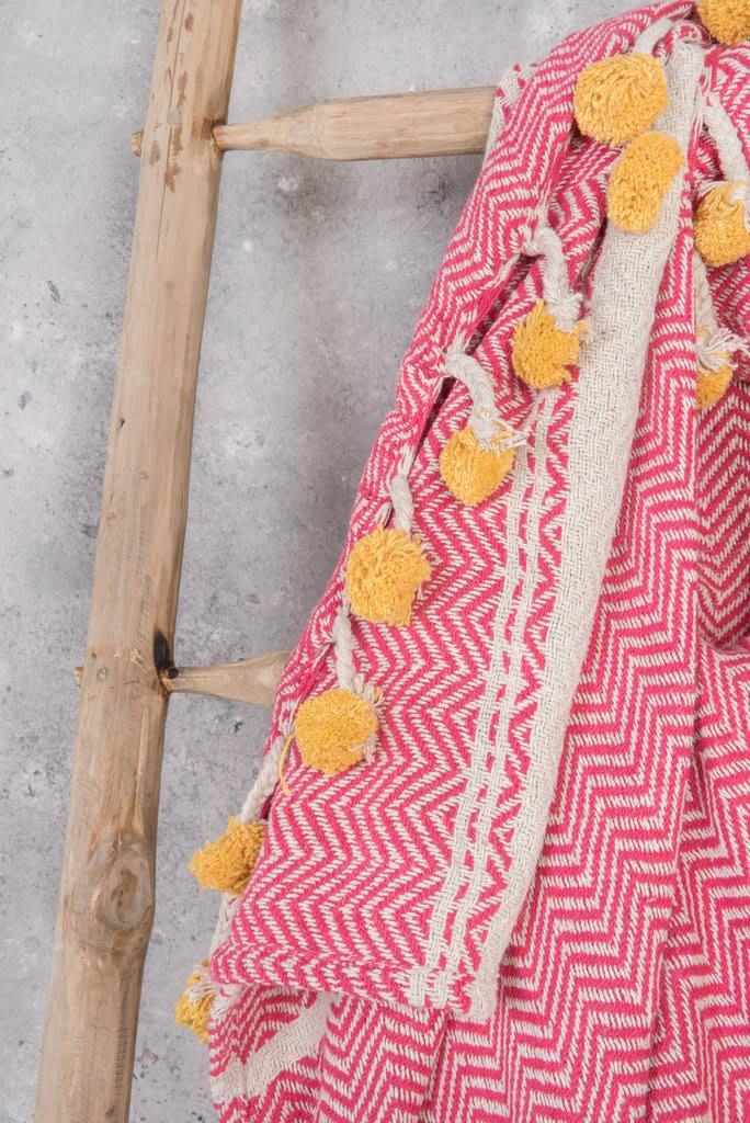 Ian Snow Pink & Yellow Cotton Throw with Pom Poms