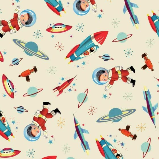 Powell Craft Blue and Red Space Print Childrens Umbrella