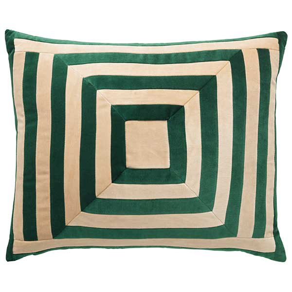 Mink Interiors LUXE collection: Lucy - hand stitched luxury velvet cushion in Emerald + Cream (50 x 60cm)