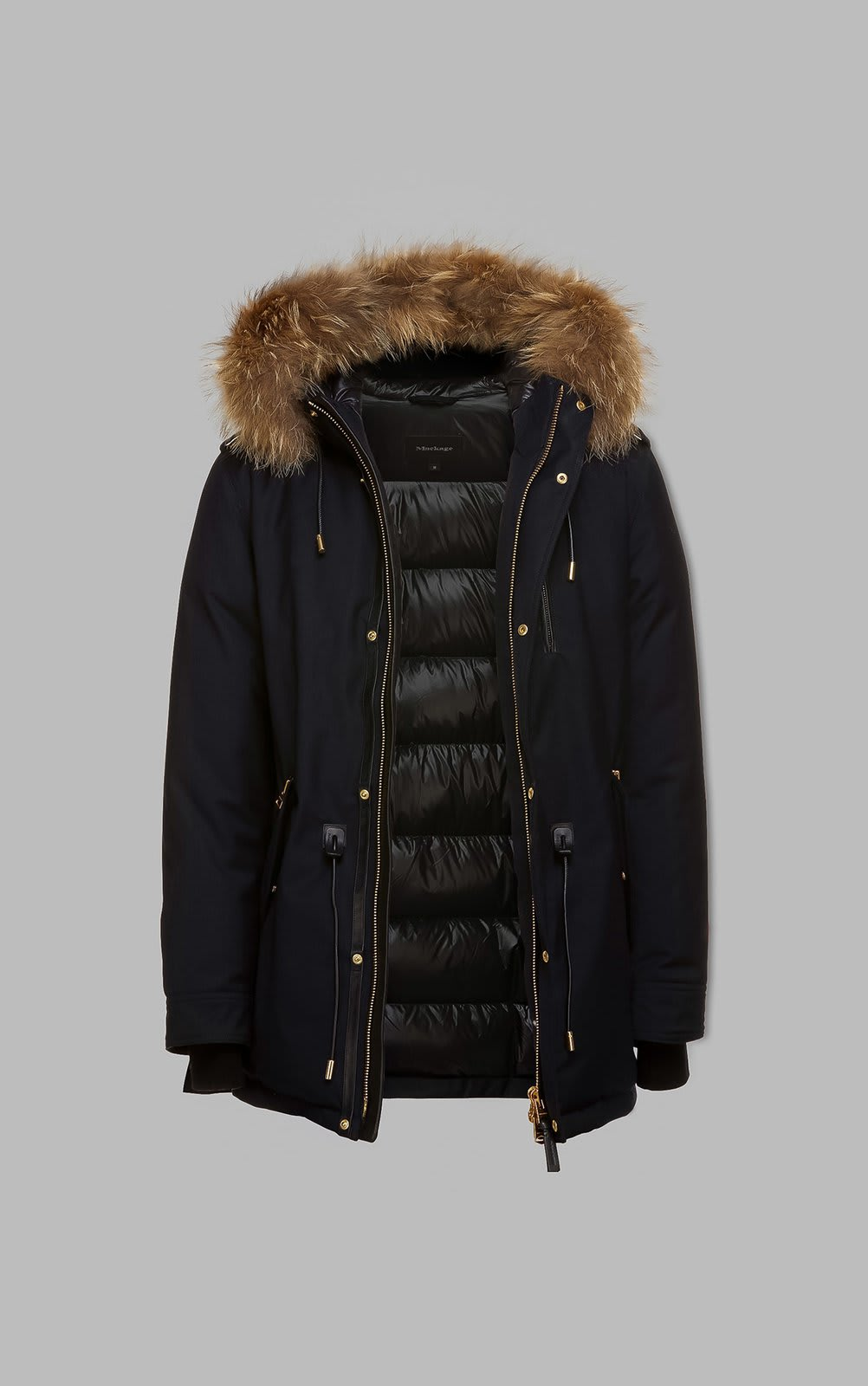Mackage Hip Length Twill Parka With Hood And Natural Fur