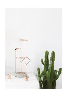 Umbra Tall Copper And Concrete Tresora Jewellery Stand