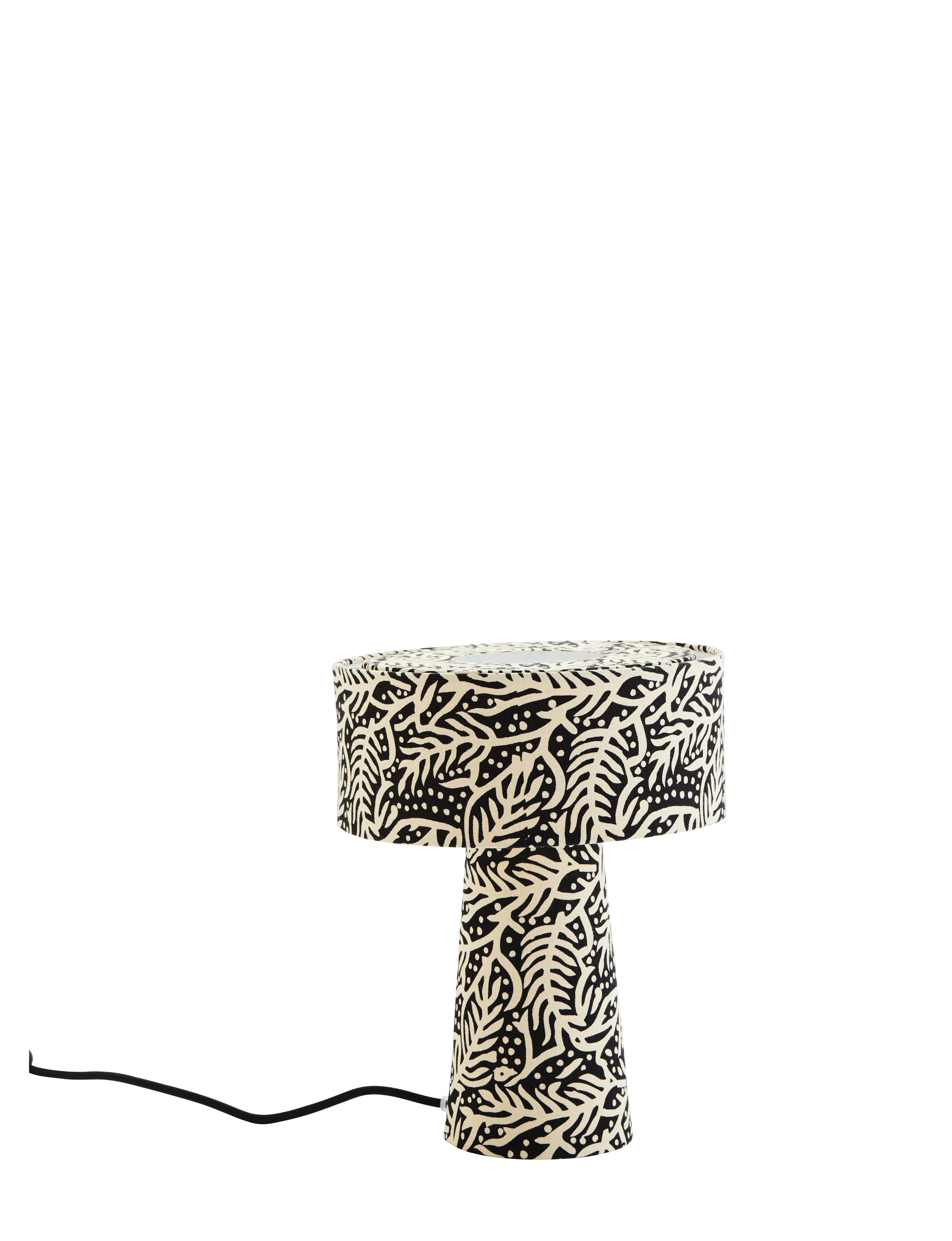 Madam Stoltz Black & Off-White Printed Cotton Table Lamp