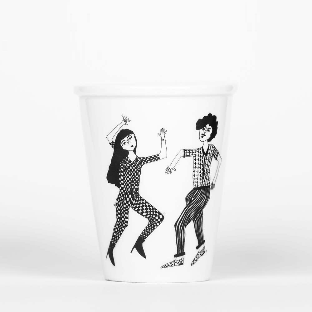 Helen B Dancing Couple Porcelain Beaker