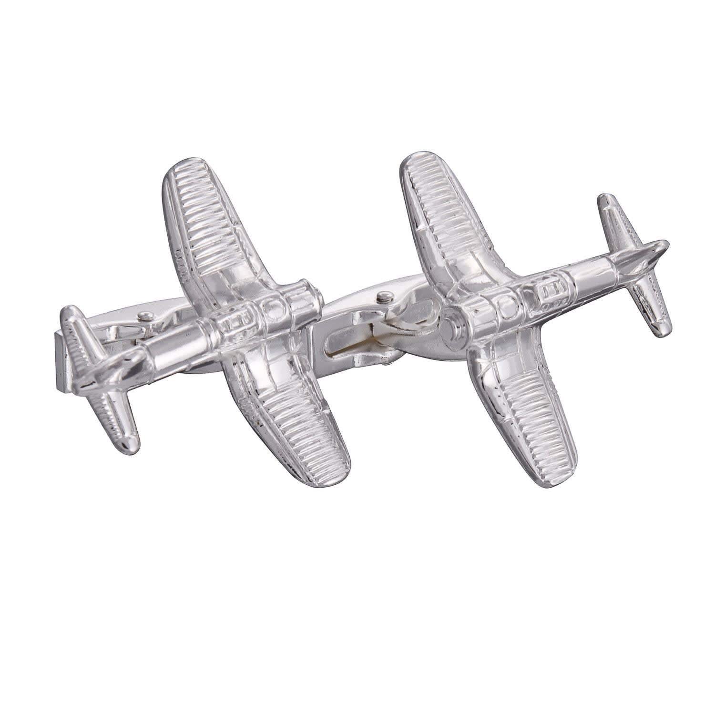 Gresham Blake Silver Fighter Plane Cufflinks