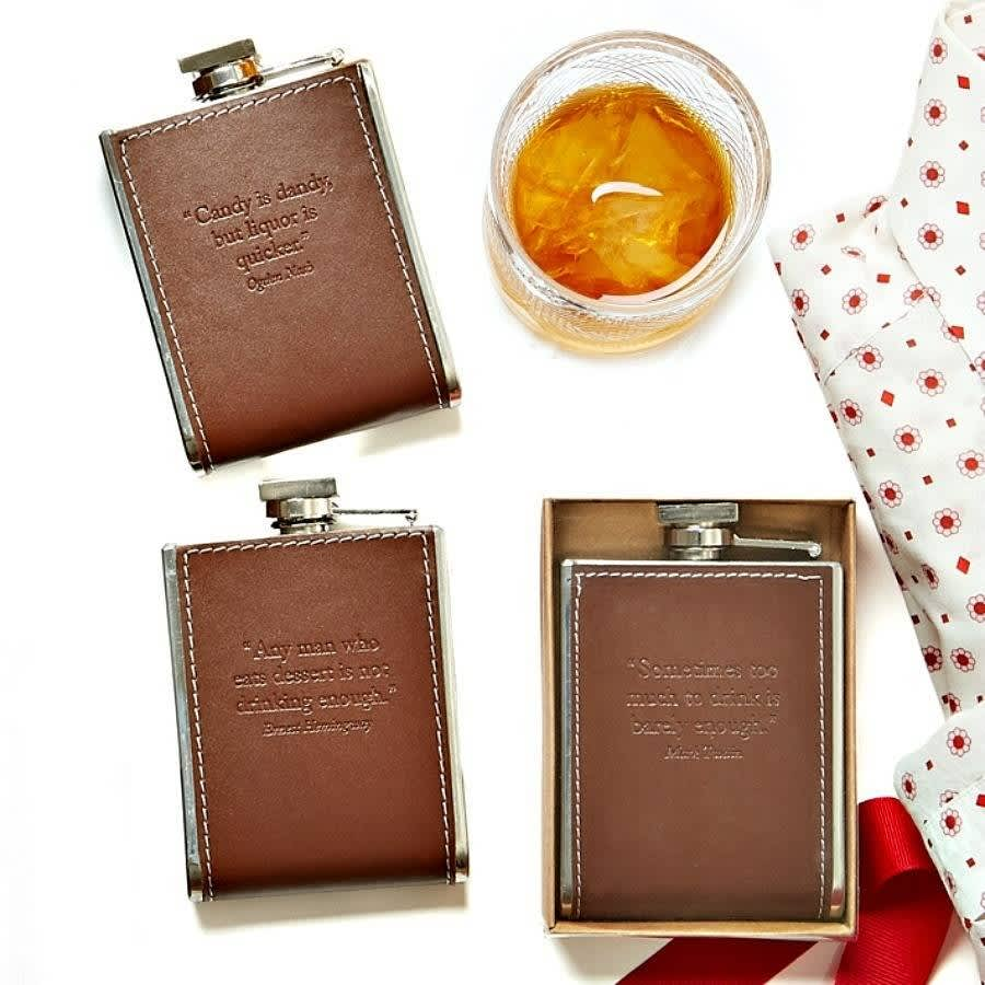 Brown Embossed Hip Flask-Not Drinking Enough Quote