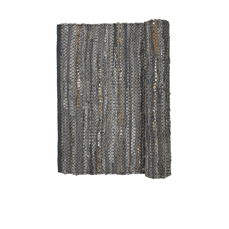 Broste Copenhagen Medium Grey Leather Rug
