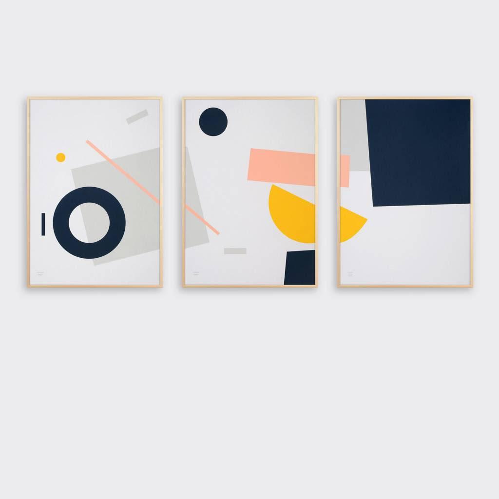 Tom Pigeon  Set Of 3 Shipwreck Geometric A2 Prints