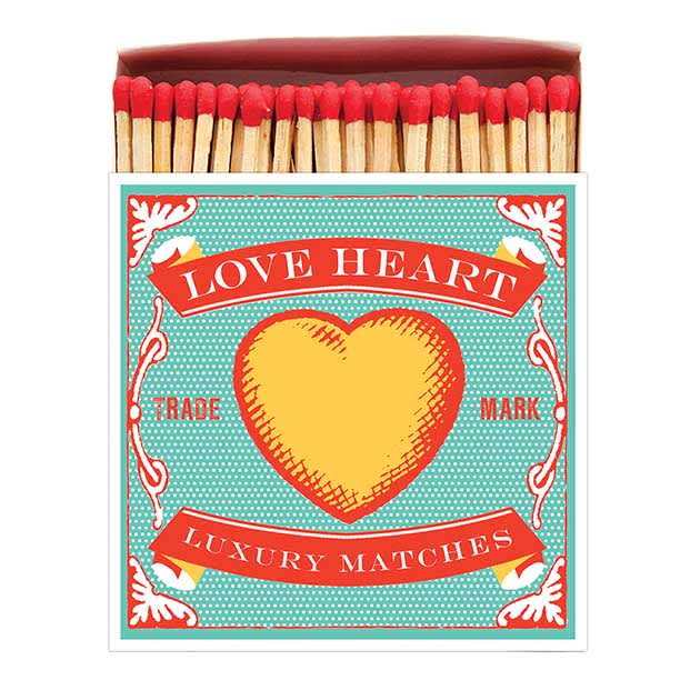 Archivist Love Heart Long Luxury Matches In A Square Box