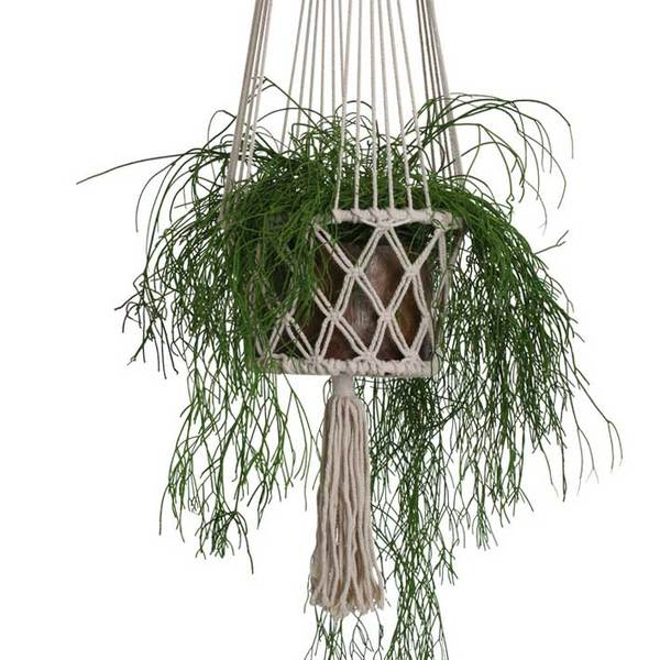 One World Interior Large Macrame Plant Hanger Basket