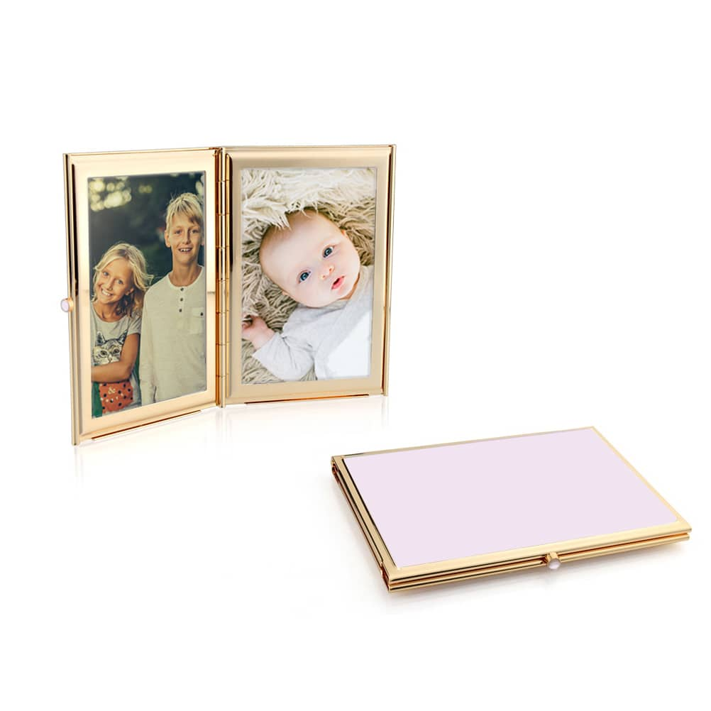 Addison Ross Pale Pink Enamel and Gold Plate Travel Photo Frame
