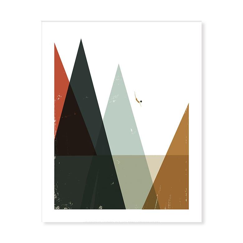 U Studio Nadadora Diver Screen Print by Artist Blanca Gomez Unframed 40cm x 50cm