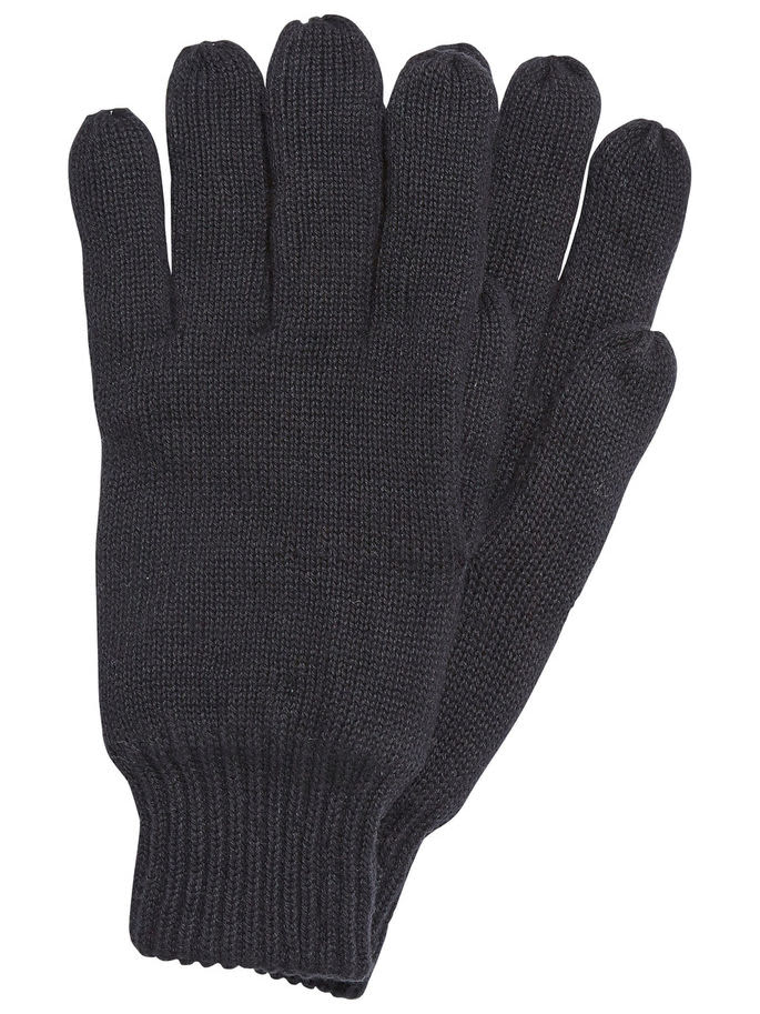 Selected Homme Black New Leth Cotton Gloves