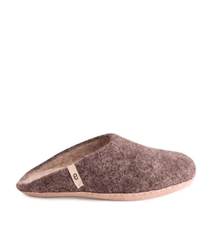 Egos Copenhagen Brown Felted Wool Slippers