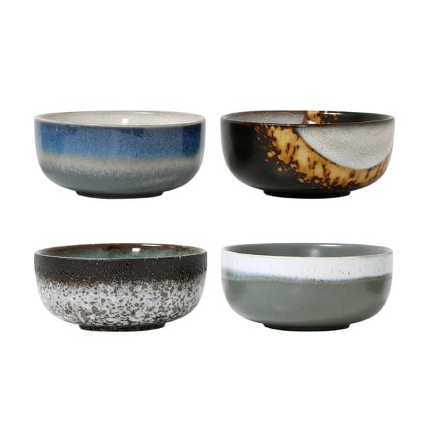 HK Living Set Of 4 Medium Ceramic 70's Bowls