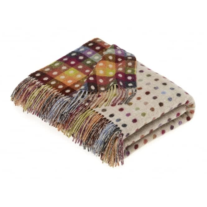 Bronte by Moon Beige Multi Spot Check Lambswool Throw
