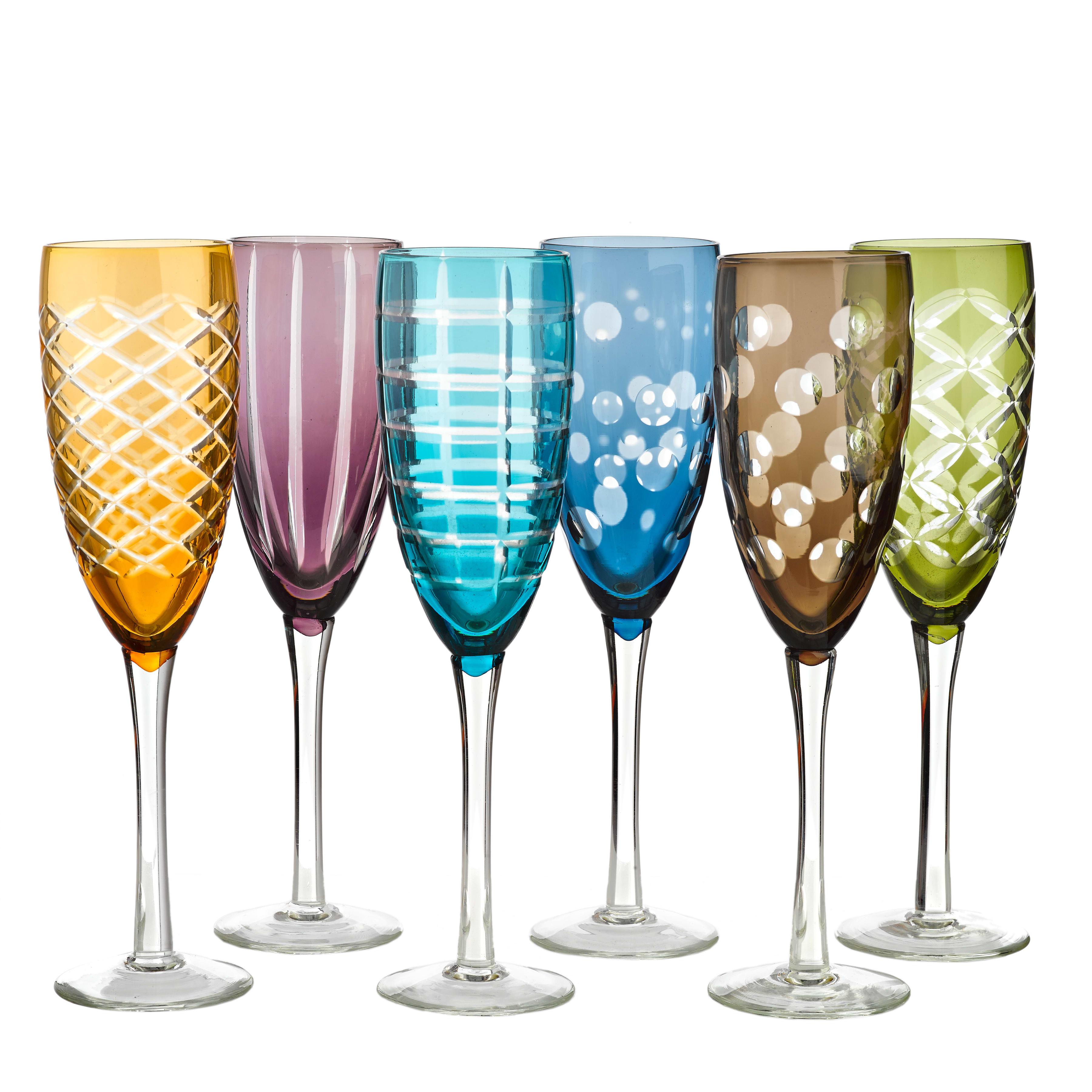 Pols Potten Set of Six Multicoloured Cut Glass Champagne Flutes