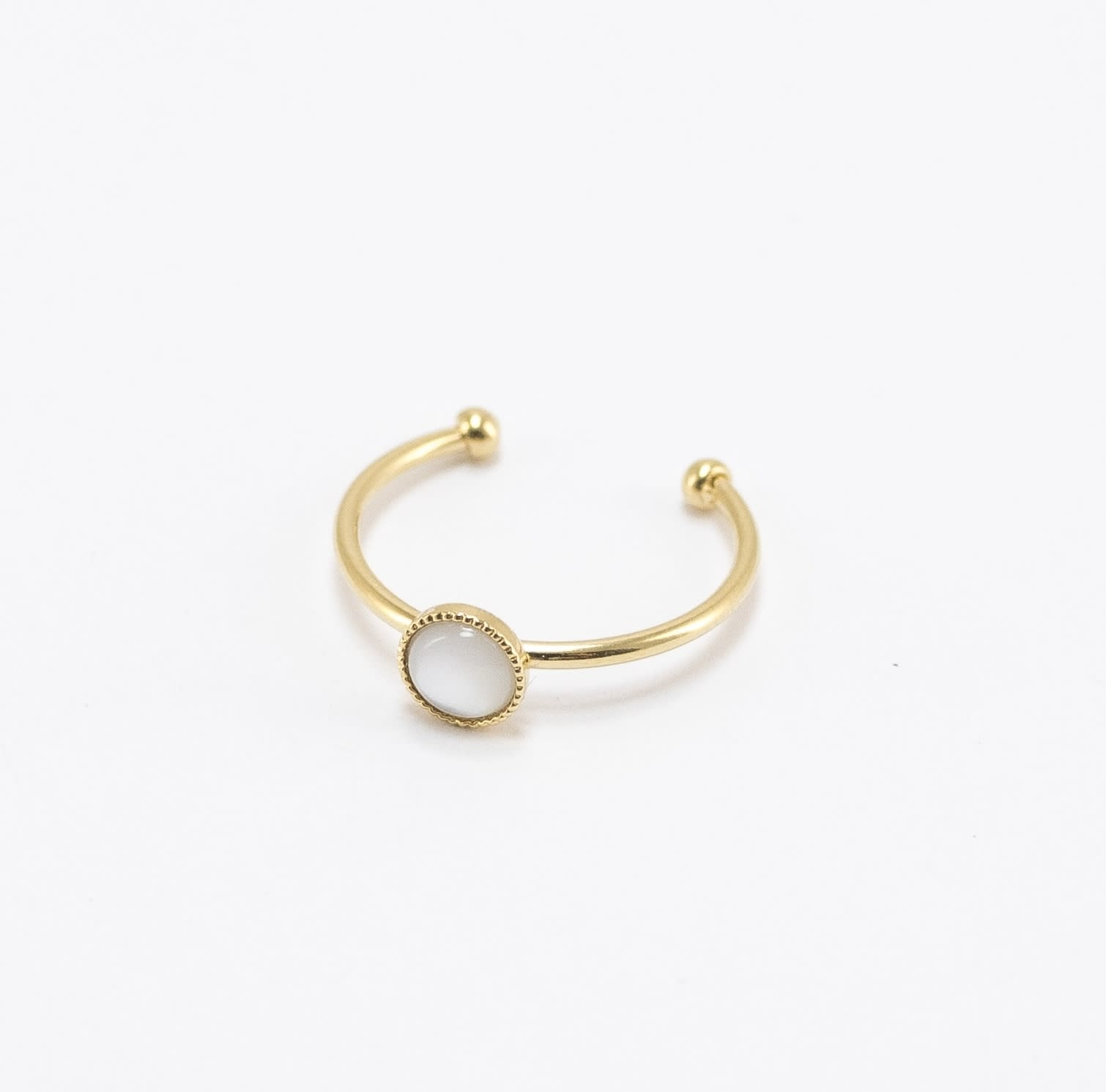 Viadoli Gold-plated Nymphéa ring with Mother-of-Pearl