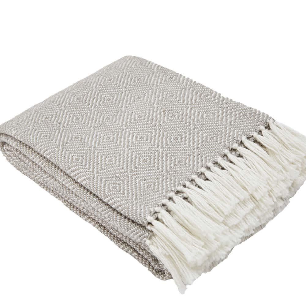 Weaver Green Soft Grey and White Diamond Weave Eco-friendly Throw