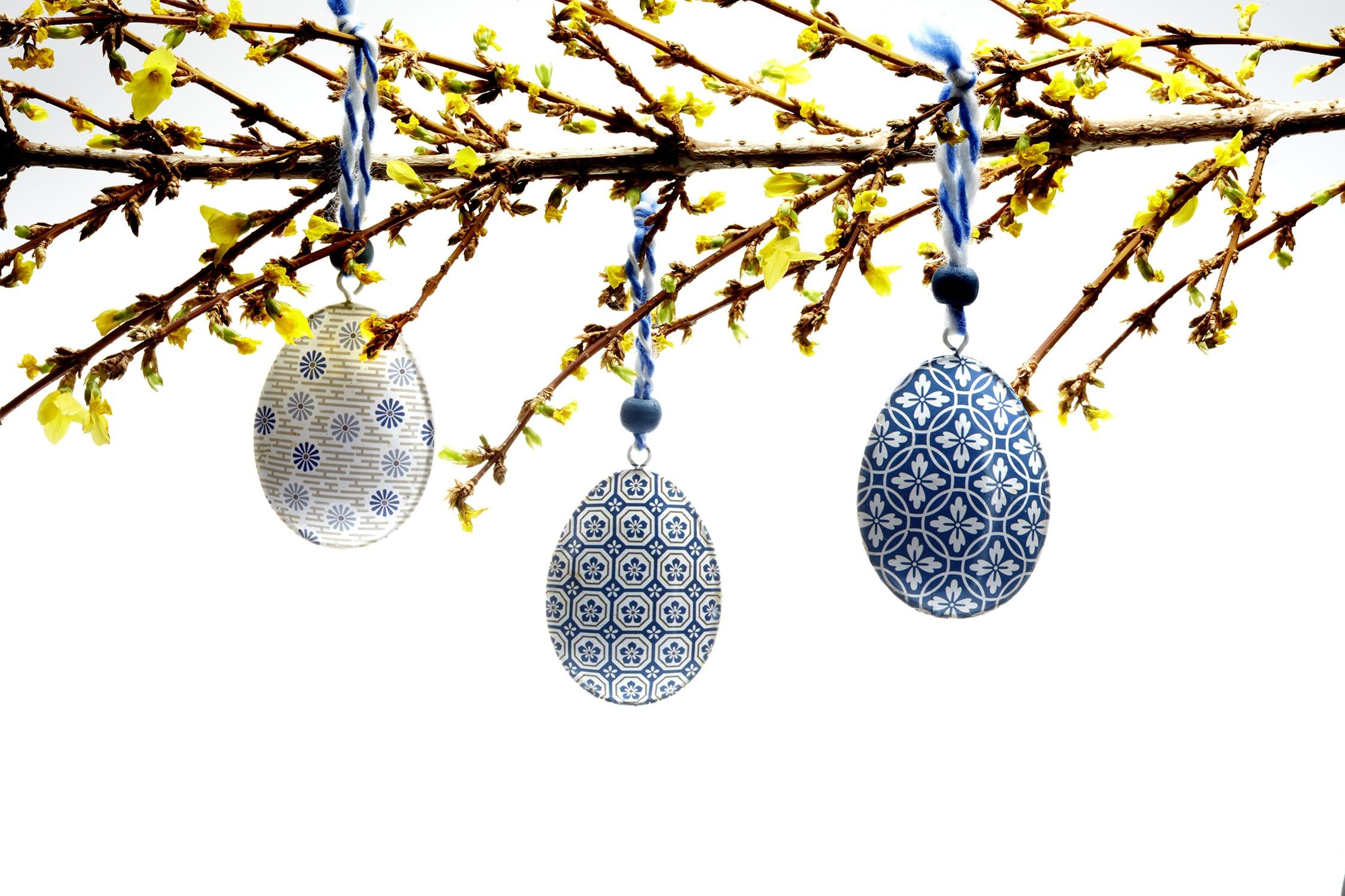 Gisela Graham Blue & White metal Easter egg decorations, box of three
