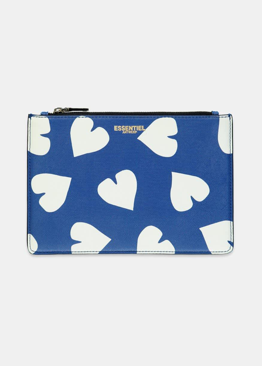 Essentiel Antwerp Selma pouch in blue and white heart print