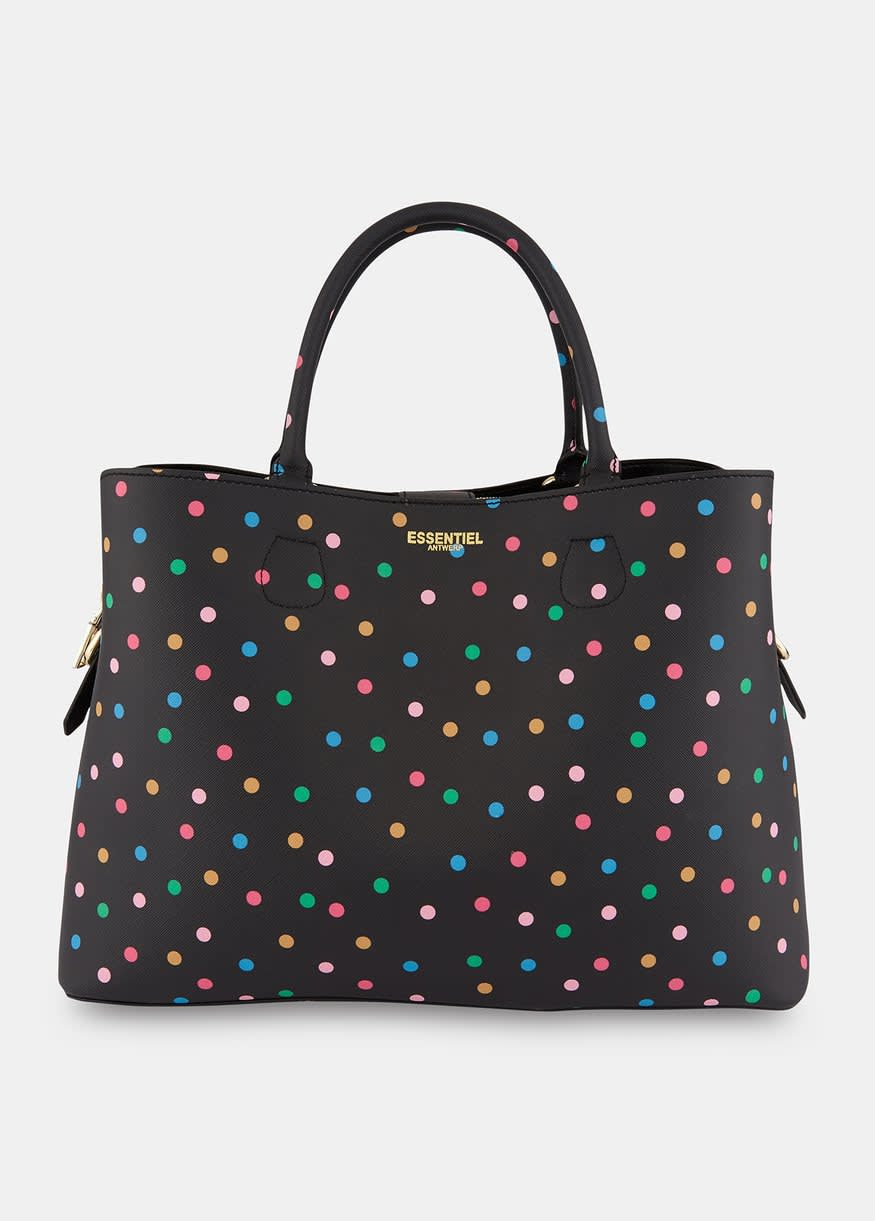 Essentiel Antwerp Semona tote bag in black with coloured polka dots
