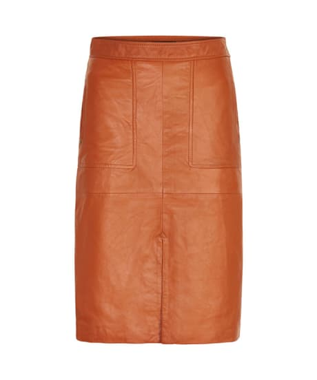600f44f6a5 Trouva: Soaked in Luxury Tan Leather Skirt