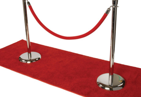 Chrome Stanchion w/ Red Velour Rope