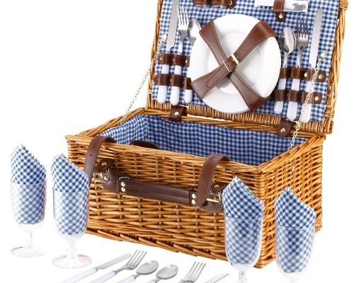 4-Person Wicker Picnic Basket
