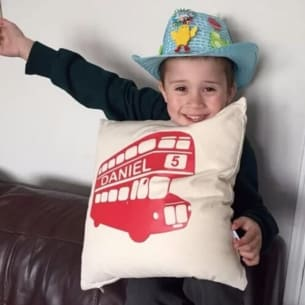 London bus cushion with name on it