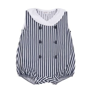 Navy Blue Striped Sailor Romper - 100% organic cotton - unisex - 6M to 18M