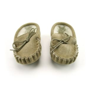 Beige Wool Lined Moccasins for children