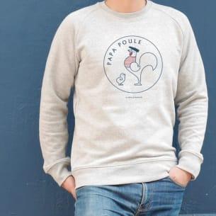 Sweat-shirt Papa Poule 1 poussin Gris - Personnalisation