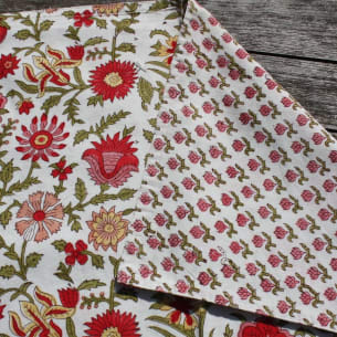 CORAL Placemat - Reversible - 100% Organic Cotton - Block-printing - 35 x 47 cm