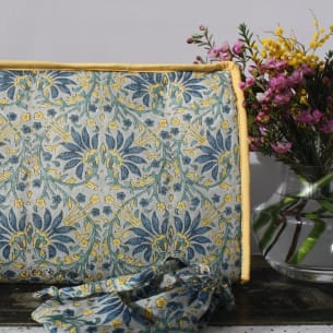 Block Printed Toiletry Bag with Jewellery Pouch - PS