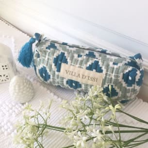 Small quilted Beauty Pouch - Handprinted - PS