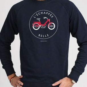Sweat-shirt navy blue Organic Cotton l'Echappée Belle (The Great Escape)
