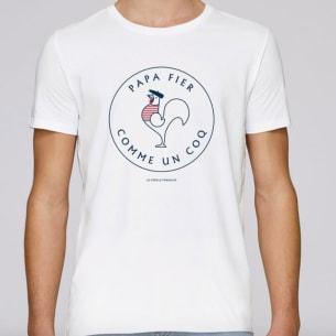 T-shirt Papa fier comme un coq blanc
