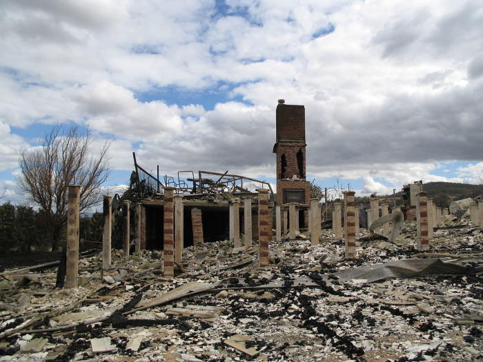 A house destroyed in the Black Saturday bushfires. Picture: Nick Carson via Wikipedia.