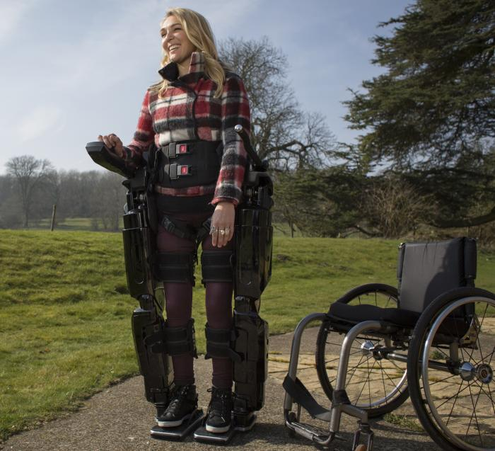 An exoskeleton, similar to this one, will be used by patients implanted with a stentrode. Picture: Rex Bionics