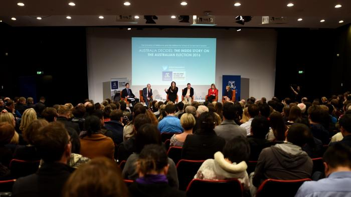 Over 500 people attended the Australia Decides panel discussion at the University of Melbourne on 29 June