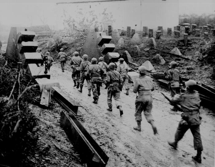 US troops cross the Siegfried Line into Germany. Picture: <a href=