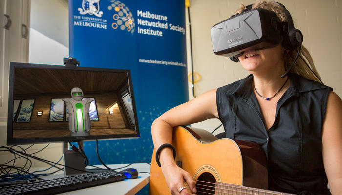 Researcher Dr Jeanette Tamplin has dived into the virtual world with her patients. Picture: University of Melbourne.