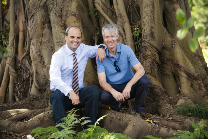 Brad Potter and Ian Woodrow use the Melbourne Royal Botanic Gardens as their laboratory. The fig tree pictured has fixed an average of 223 kilograms of carbon per year since 1991. It is estimated to now contain 17,919 kilograms of carbon. Picture: Craig Sillitoe