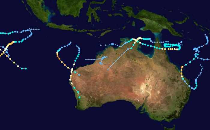 This map shows the tracks of all tropical cyclones in the 2014-15 Australian region cyclone season. Picture: Keith Edkins
