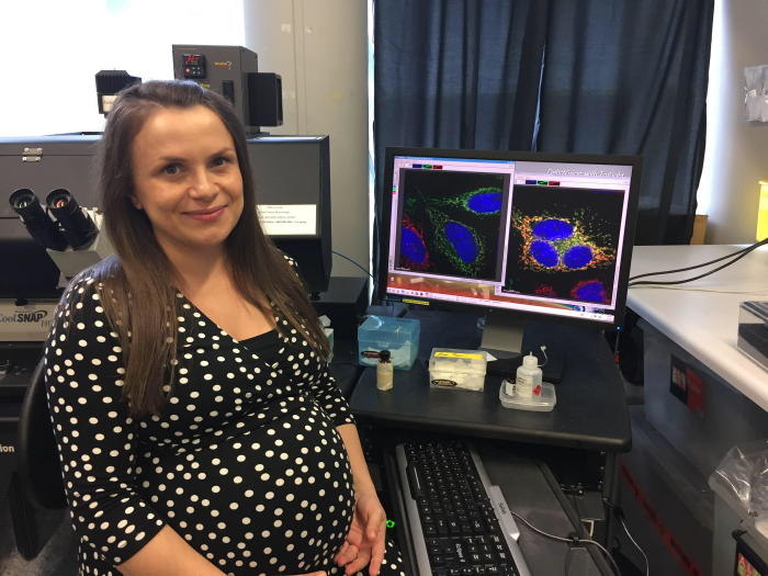 Dr Diana Stojanovski continued her research while heavily pregnant. Picture: Bio21