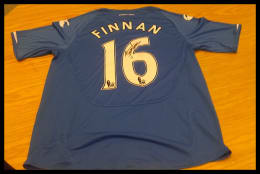 Signed Steve Finnan 2009/10 Replica Pompey Home Jersey