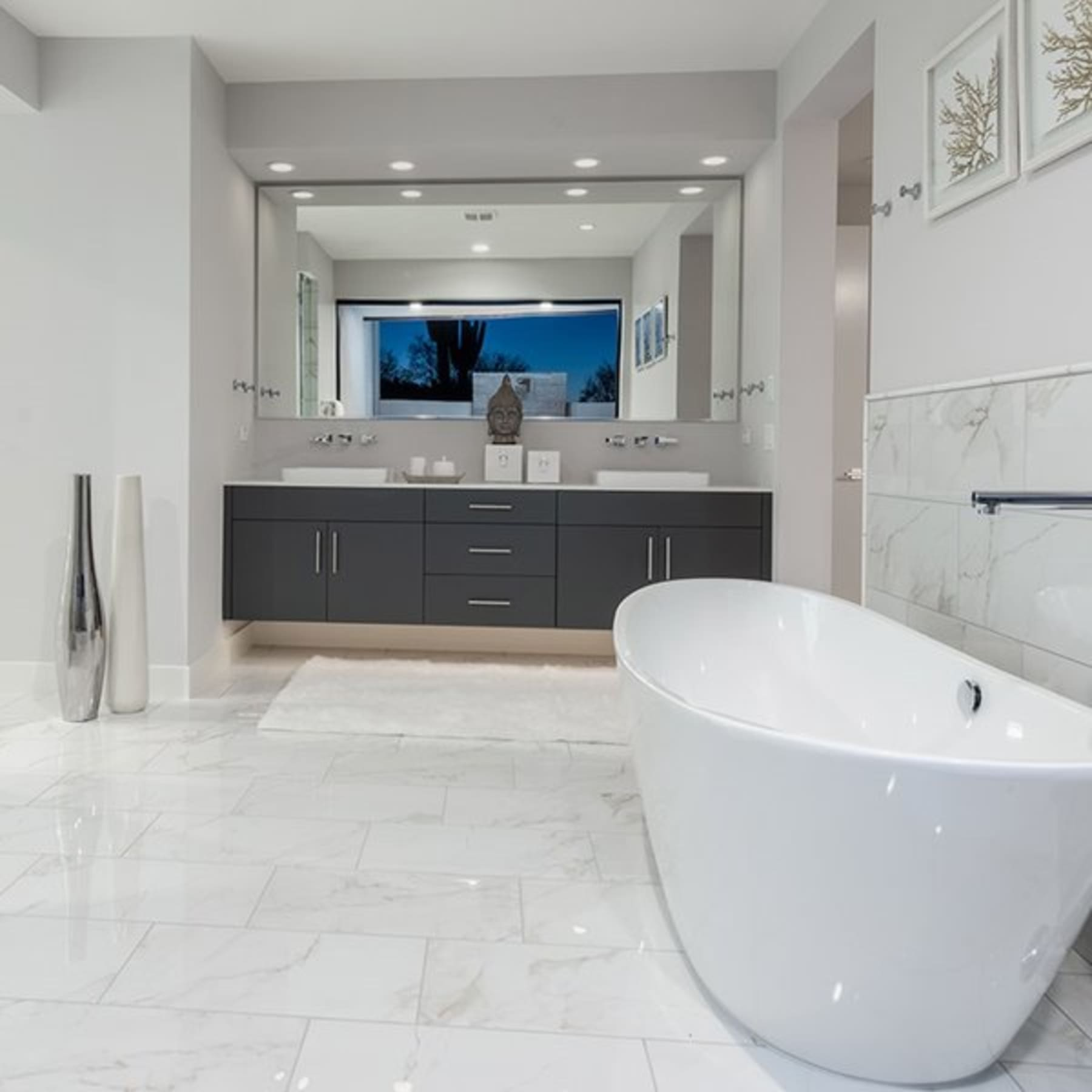 Marble effect tiles achieve the marble look for less with marble calacatta white marble effect cm x cm polished porcelain floor tile with marble effect tiles dailygadgetfo Image collections