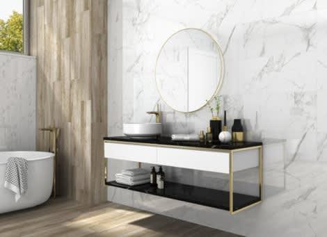 Palatina Marble Effect 30cm x 60cm Polished Porcelain Wall & Floor Tile